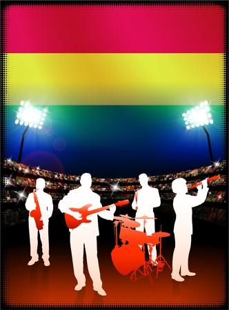bandera de bolivia: Bandera de Bolivia con banda de m�sica en vivo el fondo Stadium Ilustraci�n original  Foto de archivo