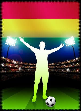 Bolivia Flag with Soccer Player on Stadium Background