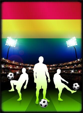 bandera de bolivia: Bandera de Bolivia con el reproductor de f�tbol en el estadio de fondo Ilustraci�n original