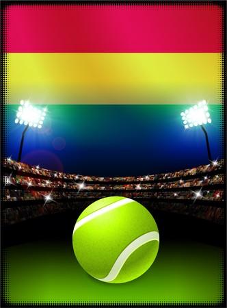 Bolivia Flag with Tennis Ball on Stadium Background Original Illustration Reklamní fotografie