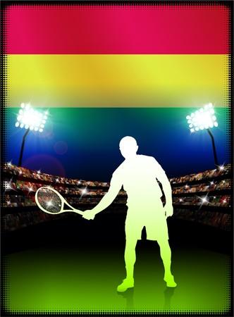 Bolivia Flag with Tennis Player on Stadium Background Original Illustration Reklamní fotografie