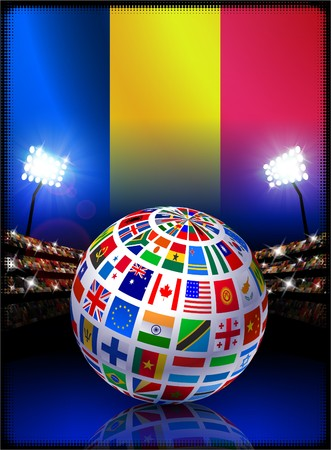 Chad Flag with Globe on Stadium Background Original Illustration illustration