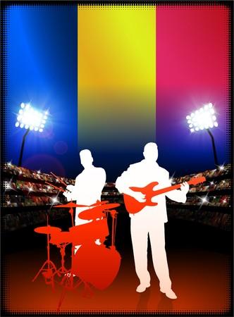 Chad Flag with Live Music Band on Stadium Background Original Illustration Stock Photo