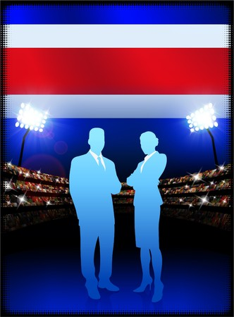 male symbol: Costa Rica Flag with Business Couple on Stadium Background Original Illustration Stock Photo