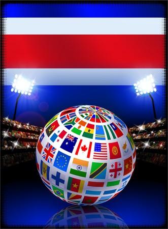 Costa Rica Flag with Globe on Stadium Background Original Illustration illustration