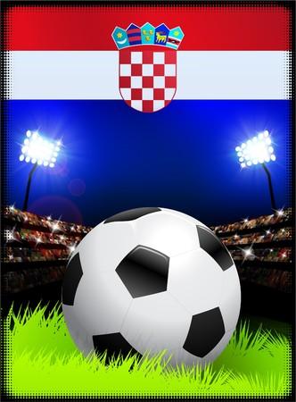 bandiera croazia: Bandiera della Croazia con pallone da calcio sullo sfondo dello stadio Illustrazione originale Archivio Fotografico