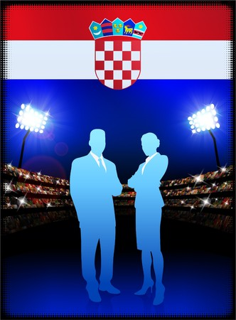 male symbol: Croatia Flag with Business Couple on Stadium Background Original Illustration Stock Photo