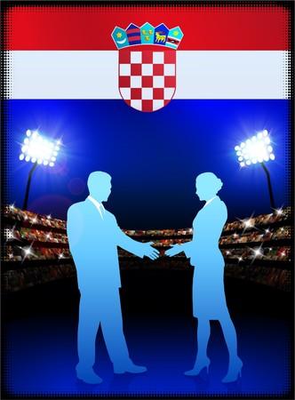 cheer leader: Croatia Flag with Business Couple on Stadium Background Original Illustration Stock Photo