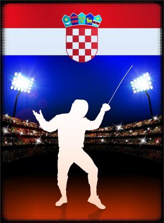 Croatia Flag with Fencing on Stadium Background Original Illustration