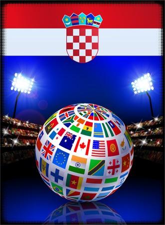 Croatia Flag with Globe on Stadium Background Original Illustration illustration
