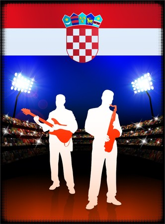 Croatia Flag with Live Music Band on Stadium Background Original Illustration Imagens