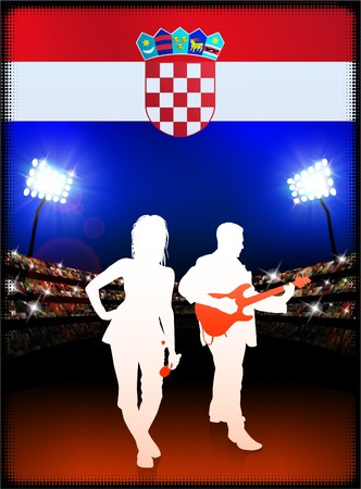 Croatia Flag with Live Music Band on Stadium Background Original Illustration illustration