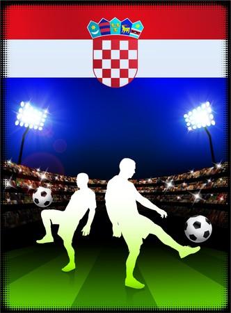 bandiera croazia: Bandiera della Croazia con il calciatore su sfondo Stadium Illustrazione originale  Archivio Fotografico