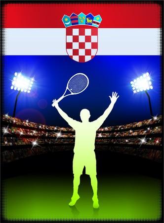 Croatia Flag with Tennis Player on Stadium Background Original Illustration