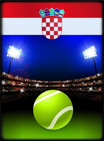 Croatia Flag with Tennis Ball on Stadium Background Original Illustration Imagens