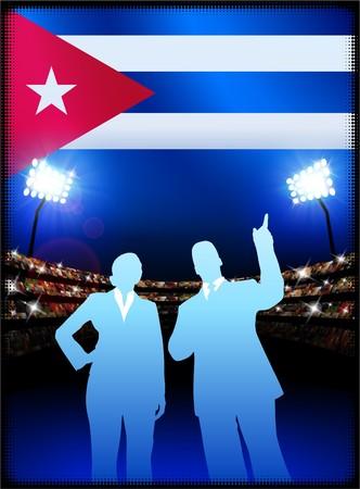 cheer leader: Cuba Flag with Business Couple on Stadium Background Original Illustration Stock Photo