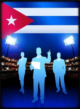 cheer leader: Cuba Flag with Business Team on Stadium Background Original Illustration
