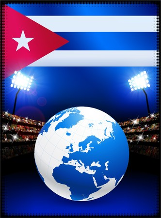 Cuba Flag with Globe on Stadium Background Original Illustration illustration
