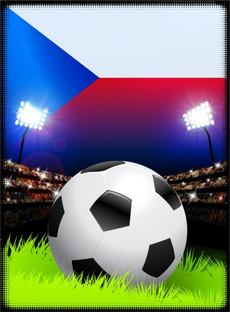 Czech Republic Flag with Soccer Ball on Stadium Background Original Illustration