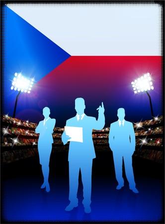 cheer leader: Czech Republic Flag with Business Team on Stadium Background Original Illustration Stock Photo