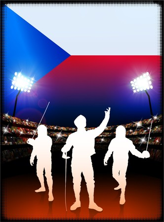 Czech Republic Flag with Fencing on Stadium Background Original Illustration
