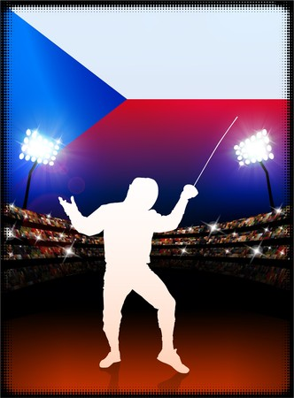 Czech Republic Flag with Fencing on Stadium Background