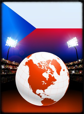 Czech Republic Flag with Globe on Stadium Background Original Illustration 版權商用圖片