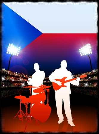 Czech Republic Flag with Live Music Band on Stadium Background Original Illustration Stok Fotoğraf