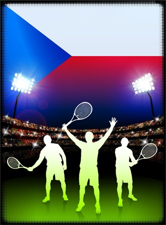 Czech Republic Flag with Tennis Player on Stadium Background Original Illustration 版權商用圖片