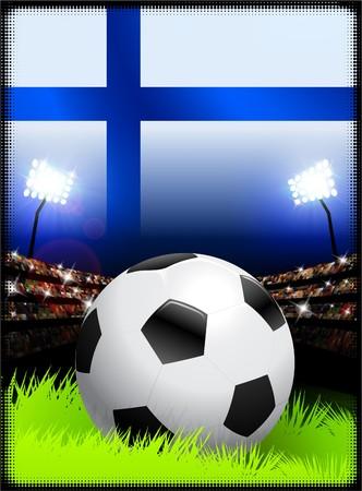 Finland Flag with Soccer Ball on Stadium Background Original Illustration illustration