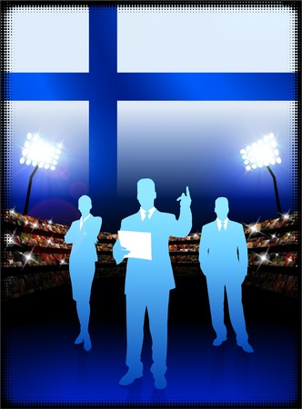 male symbol: Finland Flag with Business Team on Stadium Background Original Illustration Stock Photo