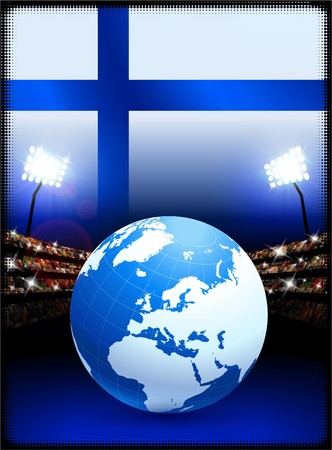 cross match: Finland Flag with Globe on Stadium Background Original Illustration Stock Photo