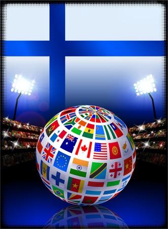 Finland Flag with Globe on Stadium Background Original Illustration illustration