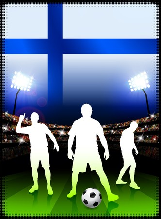 cross match: Finland Flag with Soccer Player on Stadium Background Original Illustration