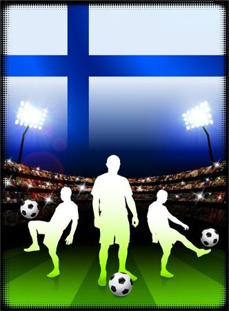Finland Flag with Soccer Player on Stadium BackgroundOriginal Illustration