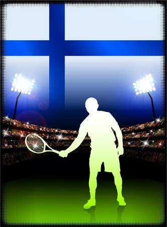 cross match: Finland Flag with Tennis Player on Stadium Background Original Illustration Stock Photo