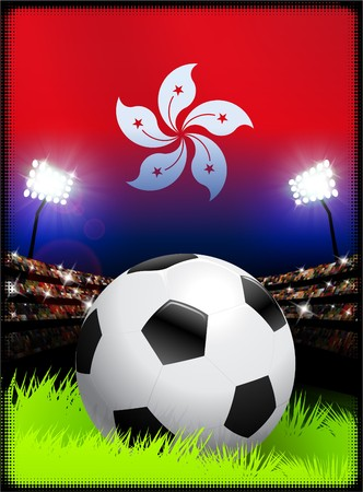 hong kong night: Hong Kong Flag with Soccer Ball on Stadium Background Original Illustration Stock Photo