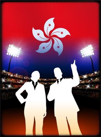 hong kong night: Hong Kong Flag with Business Couple on Stadium Background Original Illustration