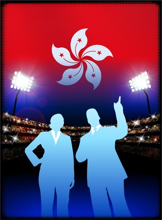 male symbol: Hong Kong Flag with Business Couple on Stadium Background Original Illustration