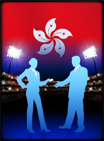 cheer leader: Hong Kong Flag with Business Couple on Stadium Background Original Illustration