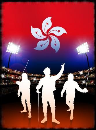 hong kong night: Hong Kong Flag with Fencing on Stadium Background Original Illustration