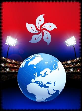Hong Kong Flag with Globe on Stadium Background Original Illustration Фото со стока