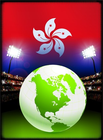 hong kong night: Hong Kong Flag with Globe on Stadium Background Original Illustration Stock Photo