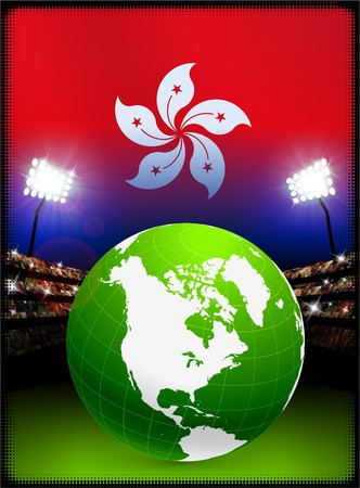 hong kong night: Hong Kong Flag with Globe on Stadium Background Original Illustration Stock Photo