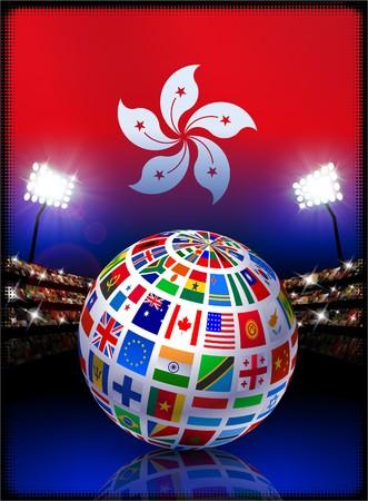 スタジアムの背景に世界中で Hong Kong フラグオリジナル イラスト 写真素材