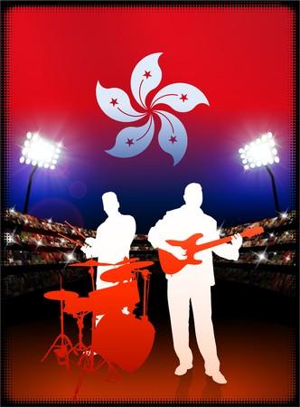 Hong Kong Flag with Live Music Band on Stadium Background Original Illustration illustration