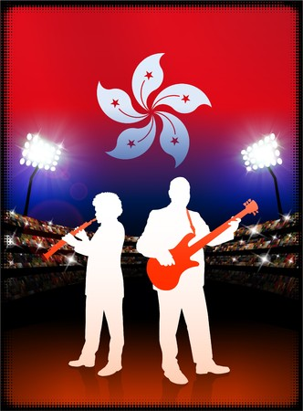 hong kong night: Hong Kong Flag with Live Music Band on Stadium Background Original Illustration