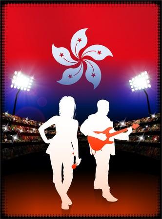 Hong Kong Flag with Live Music Band on Stadium Background Original Illustration