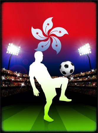 hong kong night: Hong Kong Flag with Soccer Player on Stadium Background Original Illustration