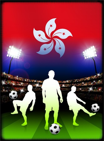 hong kong night: Hong Kong Flag with Soccer Player on Stadium Background Original Illustration